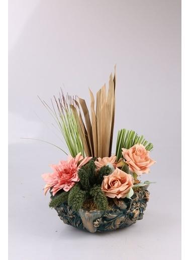 Kibrithane Çiçek Yapay Çiçek  Beton Saksı Kuru Çiçek Gül Aranjman Kc00200769 Renkli